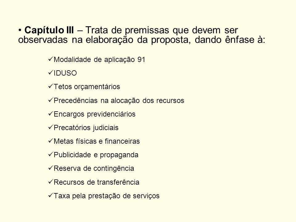Capítulo III – Trata de premissas que devem ser observadas na elaboração da proposta, dando ênfase à: Modalidade de aplicação 91 IDUSO Tetos orçamentá
