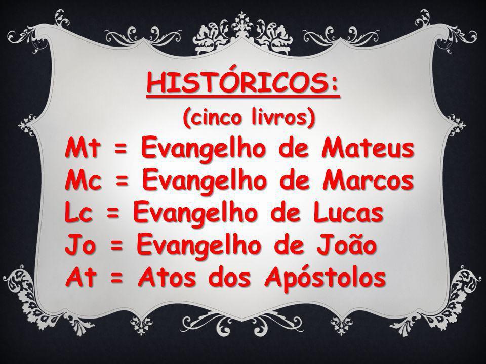 HISTÓRICOS: (cinco livros) (cinco livros) Mt = Evangelho de Mateus Mc = Evangelho de Marcos Lc = Evangelho de Lucas Jo = Evangelho de João At = Atos dos Apóstolos