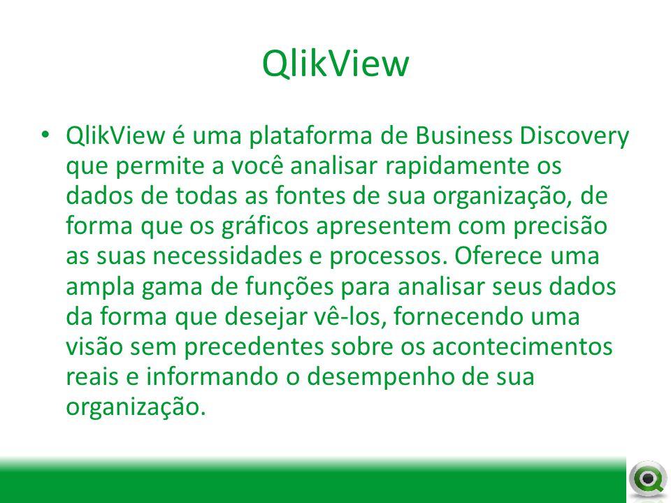 QlikView QlikView é uma plataforma de Business Discovery que permite a você analisar rapidamente os dados de todas as fontes de sua organização, de fo