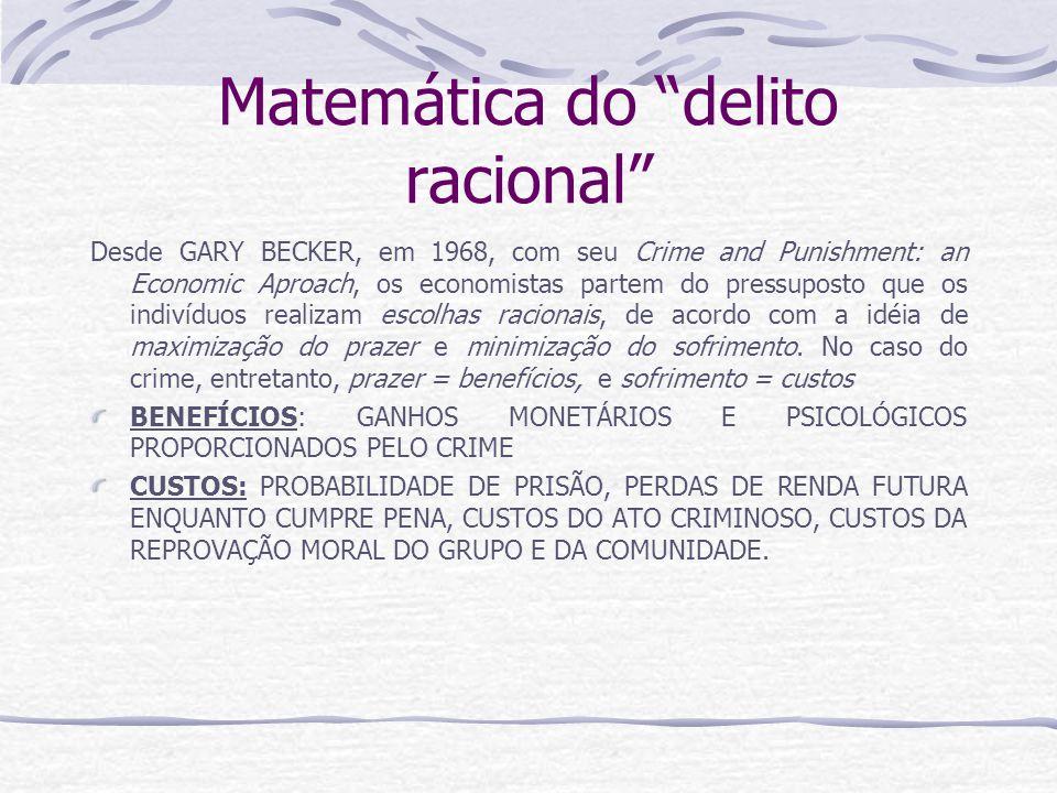 Matemática do delito racional Desde GARY BECKER, em 1968, com seu Crime and Punishment: an Economic Aproach, os economistas partem do pressuposto que os indivíduos realizam escolhas racionais, de acordo com a idéia de maximização do prazer e minimização do sofrimento.