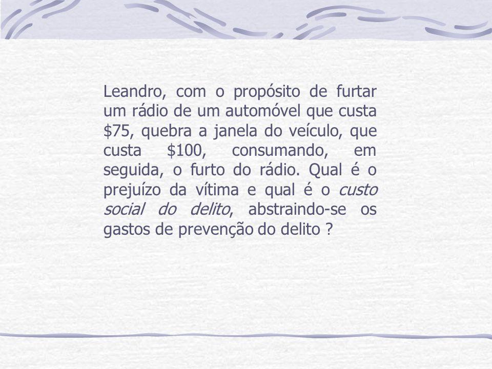 Leandro, com o propósito de furtar um rádio de um automóvel que custa $75, quebra a janela do veículo, que custa $100, consumando, em seguida, o furto do rádio.