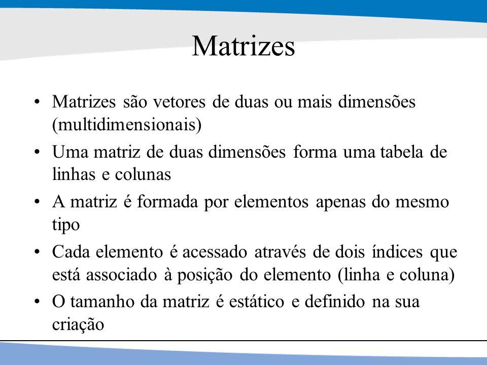11 Matrizes Matrizes são vetores de duas ou mais dimensões (multidimensionais) Uma matriz de duas dimensões forma uma tabela de linhas e colunas A mat
