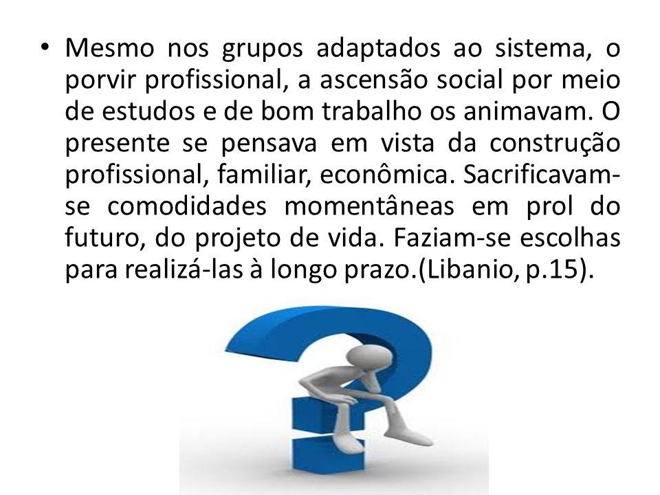 Mesmo nos grupos adaptados ao sistema, o porvir profissional, a ascensão social por meio de estudos e de bom trabalho os animavam.