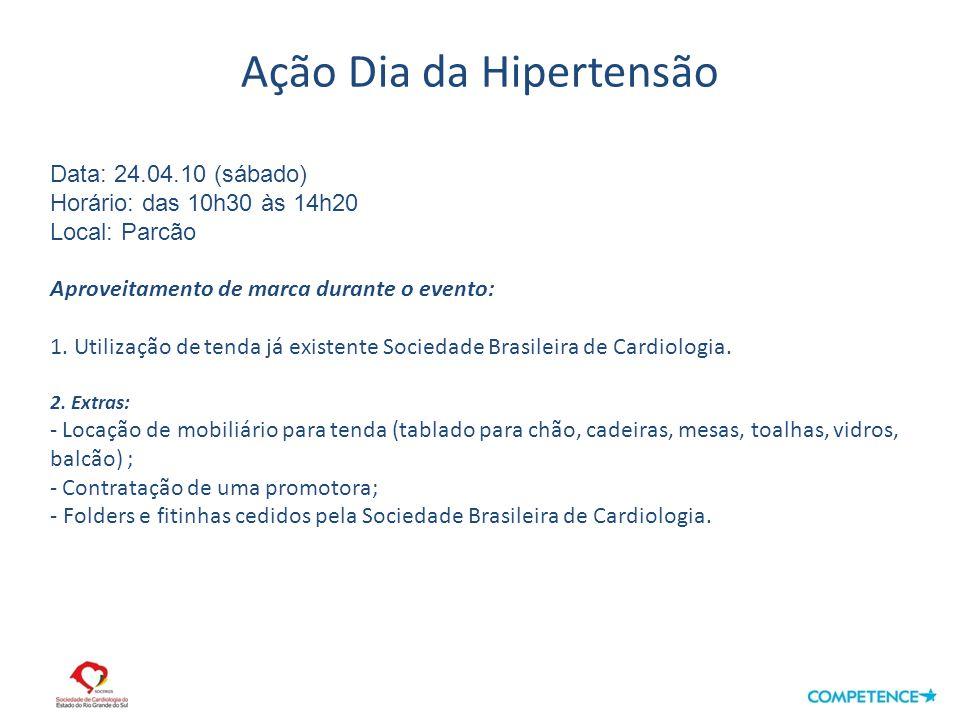 Ação Dia da Hipertensão Data: 24.04.10 (sábado) Horário: das 10h30 às 14h20 Local: Parcão Aproveitamento de marca durante o evento: 1.