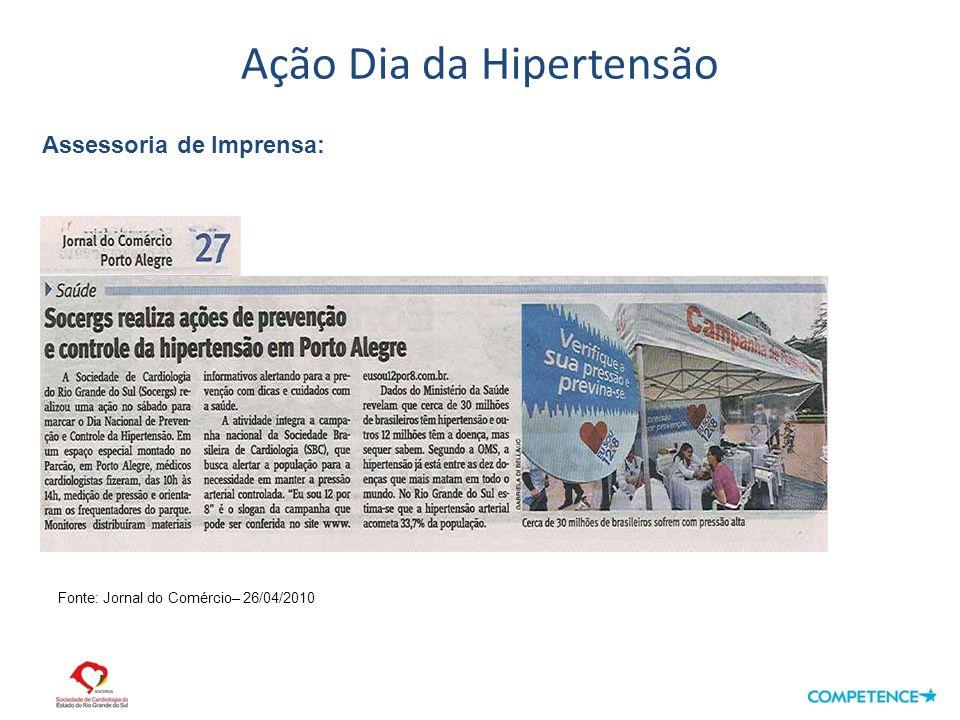 Ação Dia da Hipertensão Assessoria de Imprensa: Fonte: Jornal do Comércio– 26/04/2010