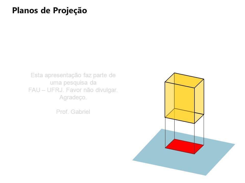 A Planos de Projeção Projeção As Ds AΞAs D Ξ Ds CΞCs Bs B Ξ Bs D C B Cs Projeção AΞAs DΞDsC Ξ Cs B Ξ Bs Plano de projeção horizontal projetante Esta apresentação faz parte de uma pesquisa da FAU – UFRJ.