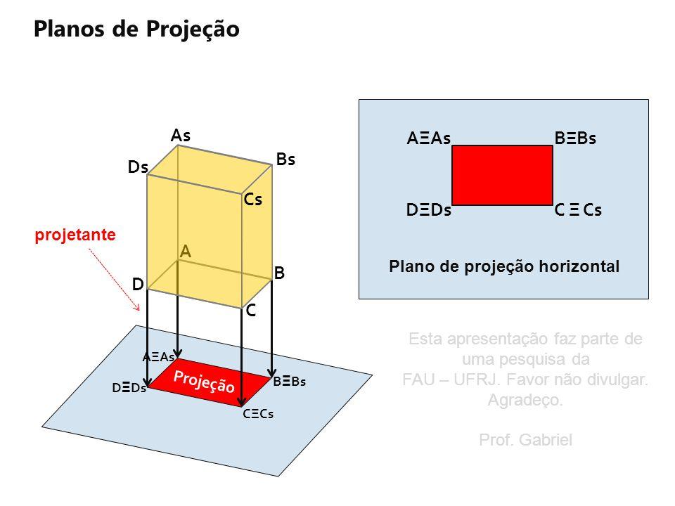 A Planos de Projeção Projeção As Ds AΞAs D Ξ Ds CΞCs Bs B Ξ Bs D C B Cs Projeção AΞAs DΞDsC Ξ Cs B Ξ Bs Plano de projeção horizontal projetante Esta a