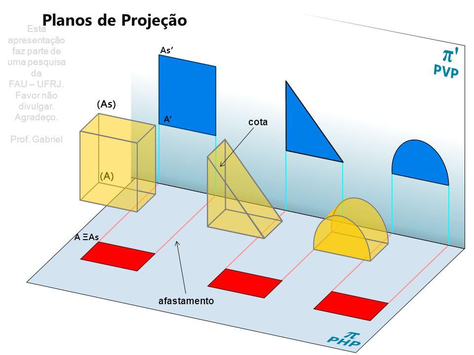 Vista frontal (Fachada / corte) A ΞAs D ΞDs C ΞCs BΞBs Vista superior (Planta) Vista frontal (Fachada / corte) Ds'ΞAs' Cs´ΞBs´ C´ ΞB´ D´Ξ A ´ Vista superior (Planta) (Bs) (A) (D) (C) (B) (As) (Ds) (Cs) Planos de Projeção PHP π Esta apresentação faz parte de uma pesquisa da FAU – UFRJ.