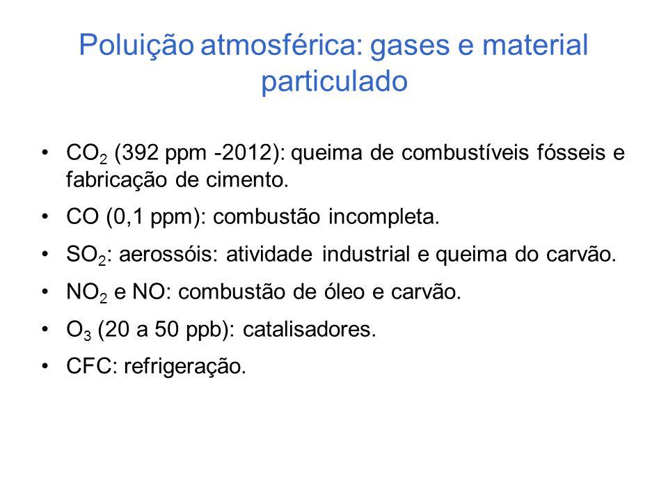 Poluição atmosférica: gases e material particulado CO 2 (392 ppm -2012): queima de combustíveis fósseis e fabricação de cimento. CO (0,1 ppm): combust