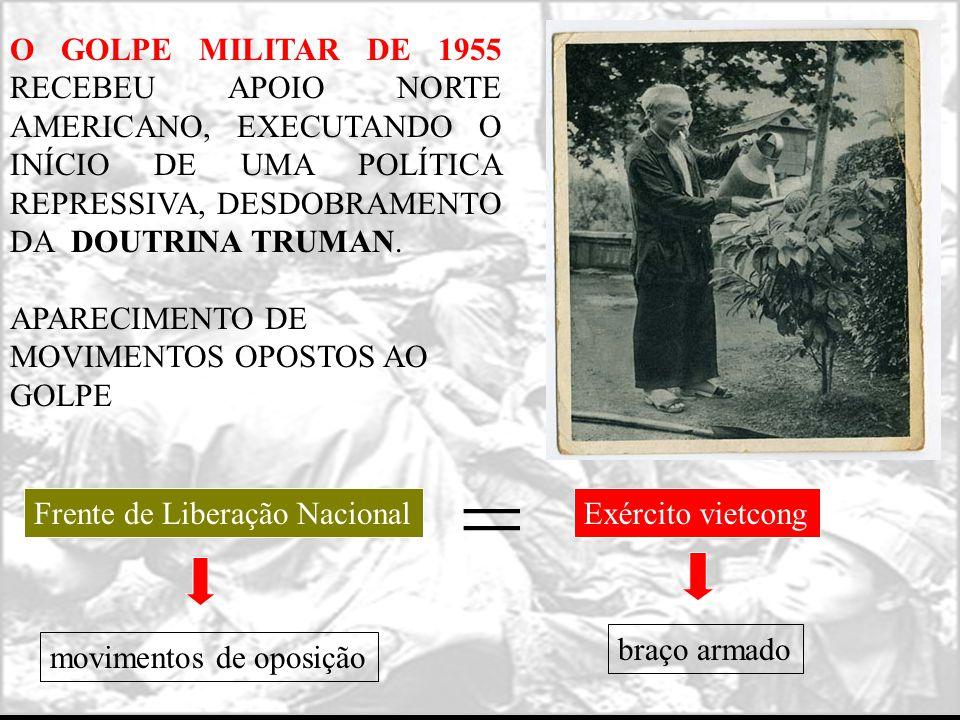 O GOLPE MILITAR DE 1955 RECEBEU APOIO NORTE AMERICANO, EXECUTANDO O INÍCIO DE UMA POLÍTICA REPRESSIVA, DESDOBRAMENTO DA DOUTRINA TRUMAN. APARECIMENTO