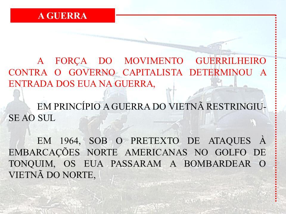 A FORÇA DO MOVIMENTO GUERRILHEIRO CONTRA O GOVERNO CAPITALISTA DETERMINOU A ENTRADA DOS EUA NA GUERRA, EM PRINCÍPIO A GUERRA DO VIETNÃ RESTRINGIU- SE