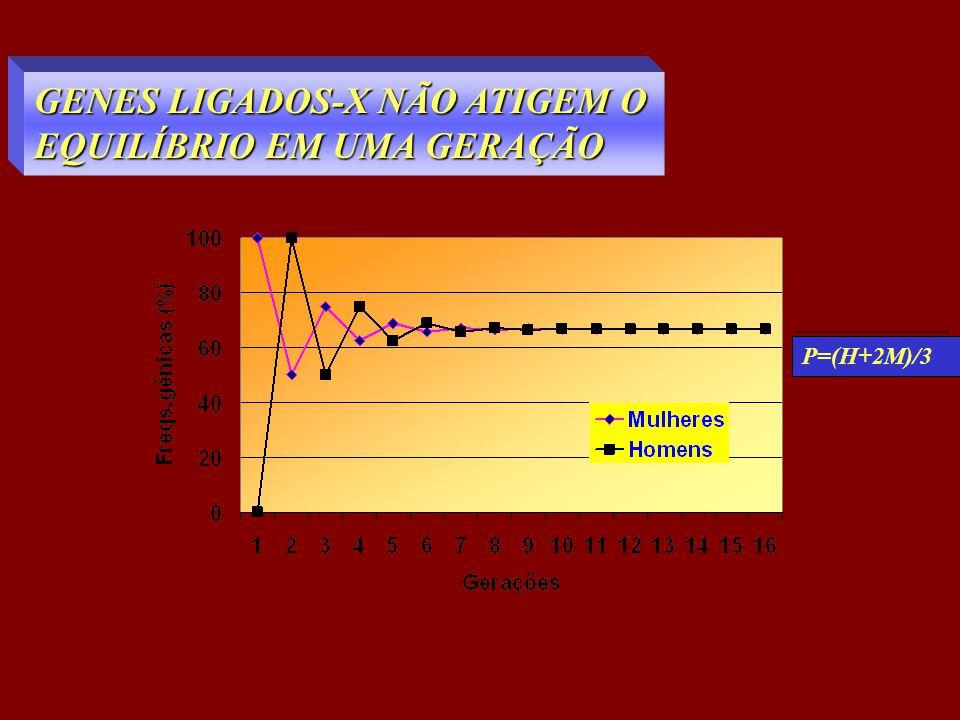 GENES LIGADOS-X NÃO ATIGEM O EQUILÍBRIO EM UMA GERAÇÃO P=(H+2M)/3