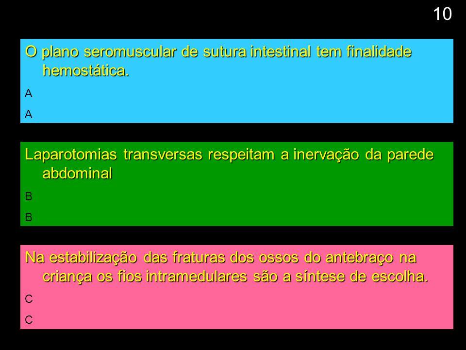 11 O plano seromuscular de sutura intestinal tem finalidade hemostática. A Laparotomias transversas respeitam a inervação da parede abdominal B Na est