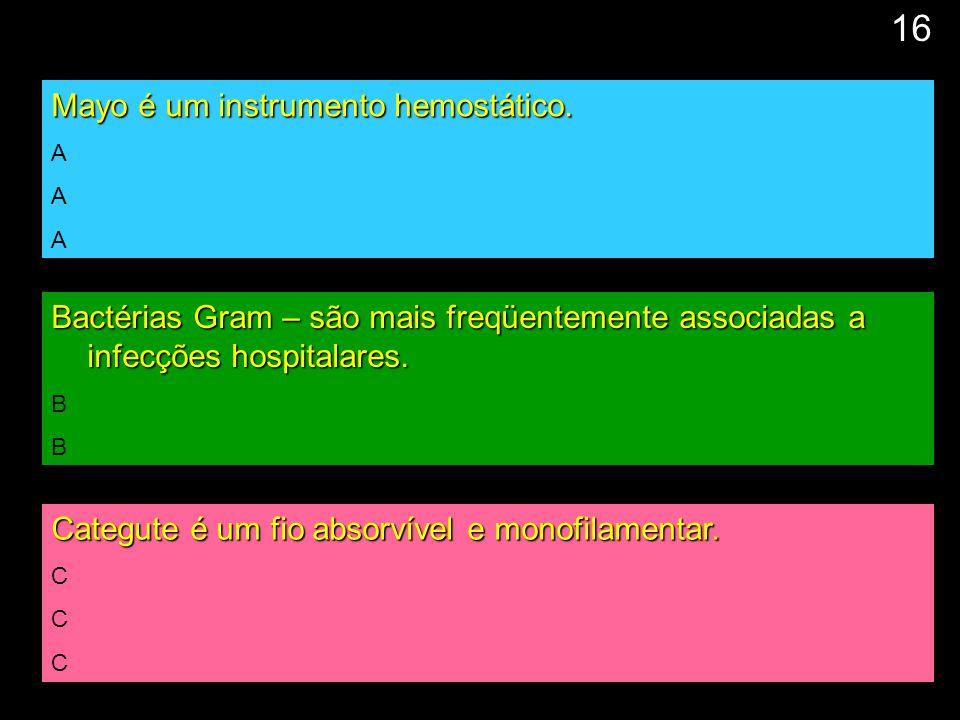 17 Mayo é um instrumento hemostático. A Bactérias Gram – são mais freqüentemente associadas a infecções hospitalares. B Categute é um fio absorvível e