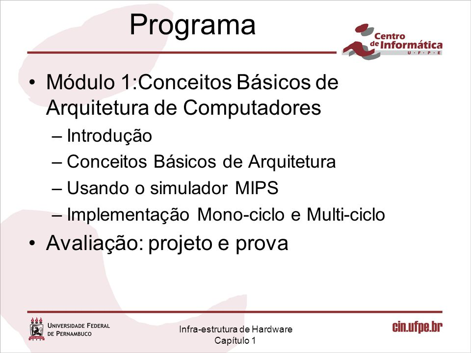 Infra-estrutura de Hardware Capítulo 1 Programa Módulo 1:Conceitos Básicos de Arquitetura de Computadores –Introdução –Conceitos Básicos de Arquitetur