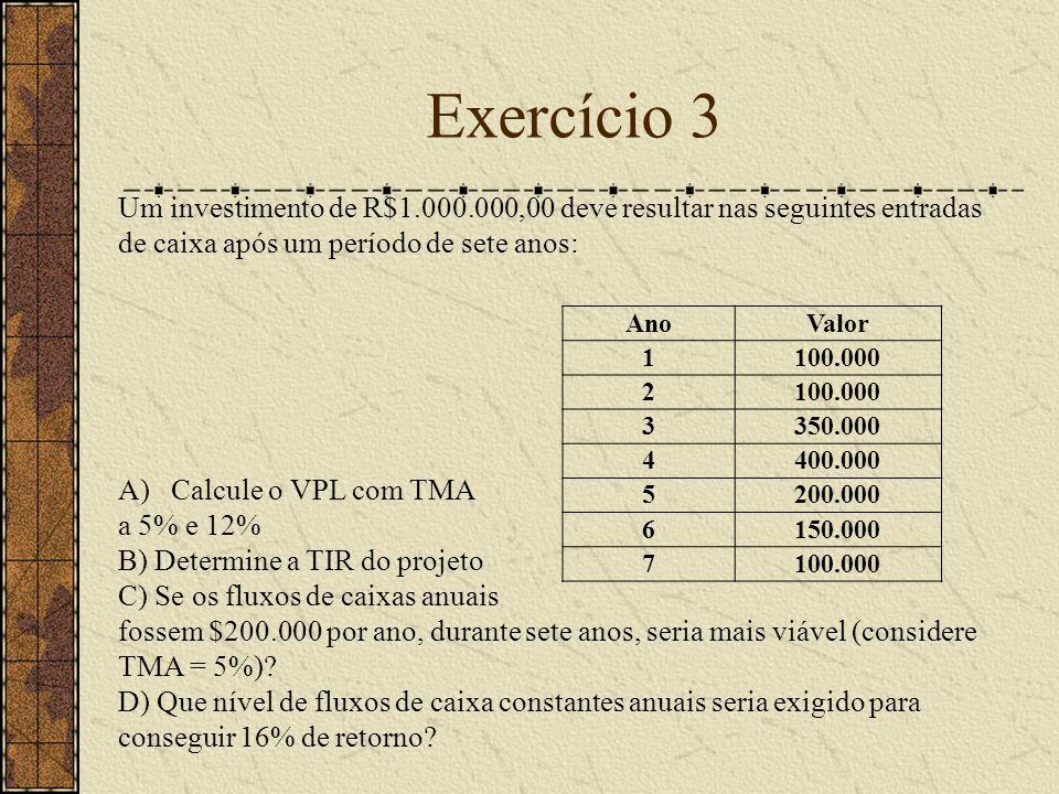 Exercício 3 AnoValor 1100.000 2 3350.000 4400.000 5200.000 6150.000 7100.000 Um investimento de R$1.000.000,00 deve resultar nas seguintes entradas de caixa após um período de sete anos: A)Calcule o VPL com TMA a 5% e 12% B) Determine a TIR do projeto C) Se os fluxos de caixas anuais fossem $200.000 por ano, durante sete anos, seria mais viável (considere TMA = 5%).