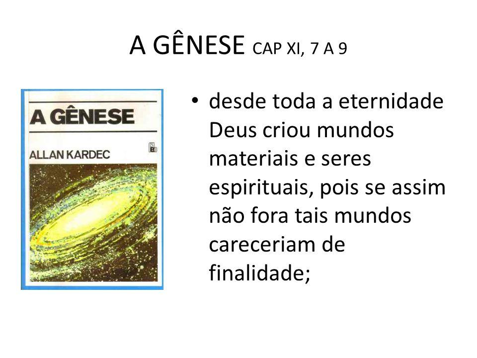 A GÊNESE CAP XI, 7 A 9 desde toda a eternidade Deus criou mundos materiais e seres espirituais, pois se assim não fora tais mundos careceriam de final