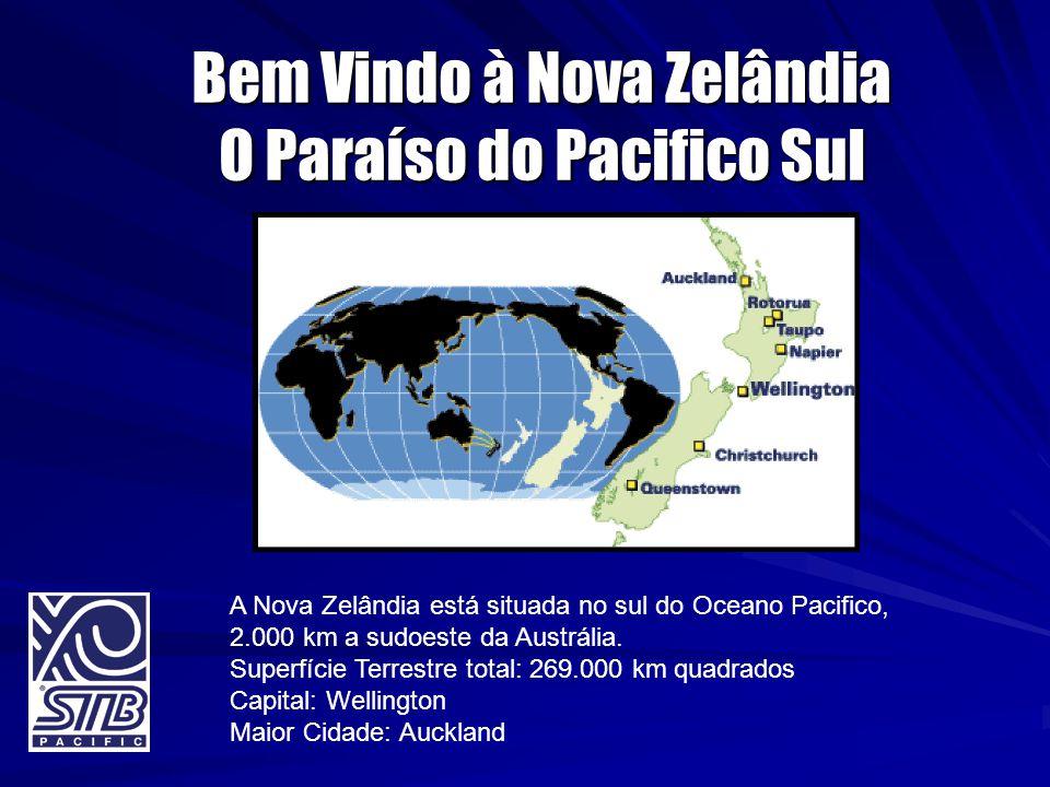 Bem Vindo à Nova Zelândia O Paraíso do Pacifico Sul A Nova Zelândia está situada no sul do Oceano Pacifico, 2.000 km a sudoeste da Austrália. Superfíc