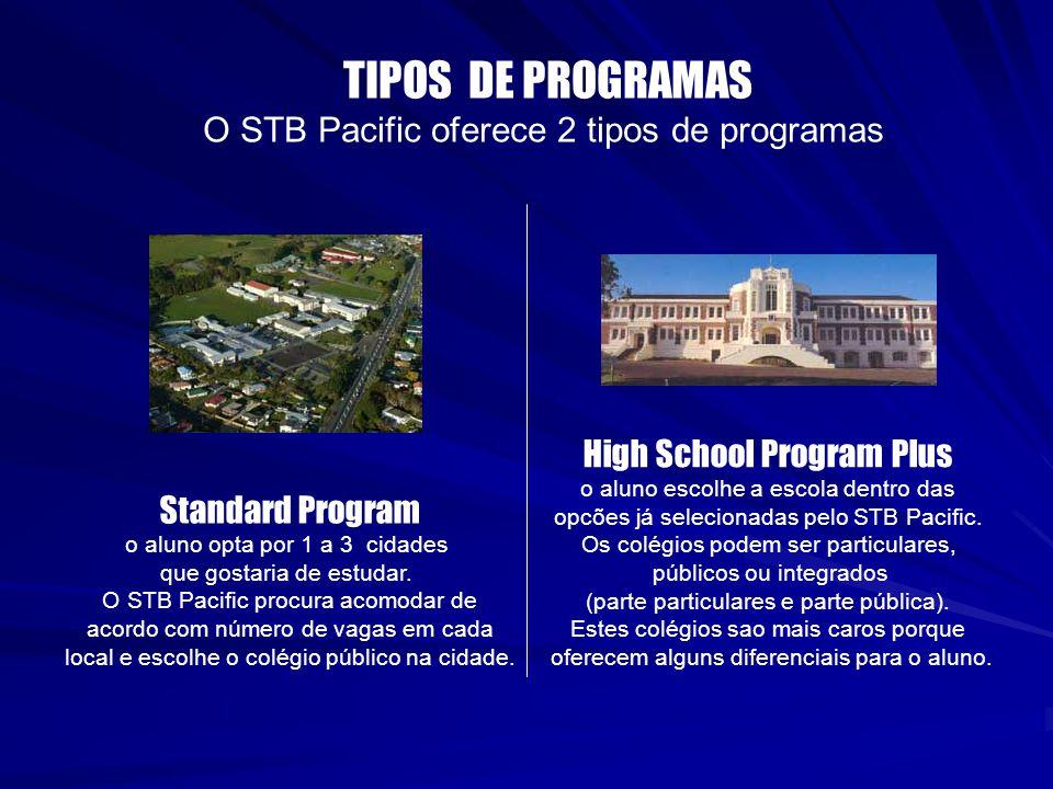 TIPOS DE PROGRAMAS O STB Pacific oferece 2 tipos de programas Standard Program o aluno opta por 1 a 3 cidades que gostaria de estudar. O STB Pacific p