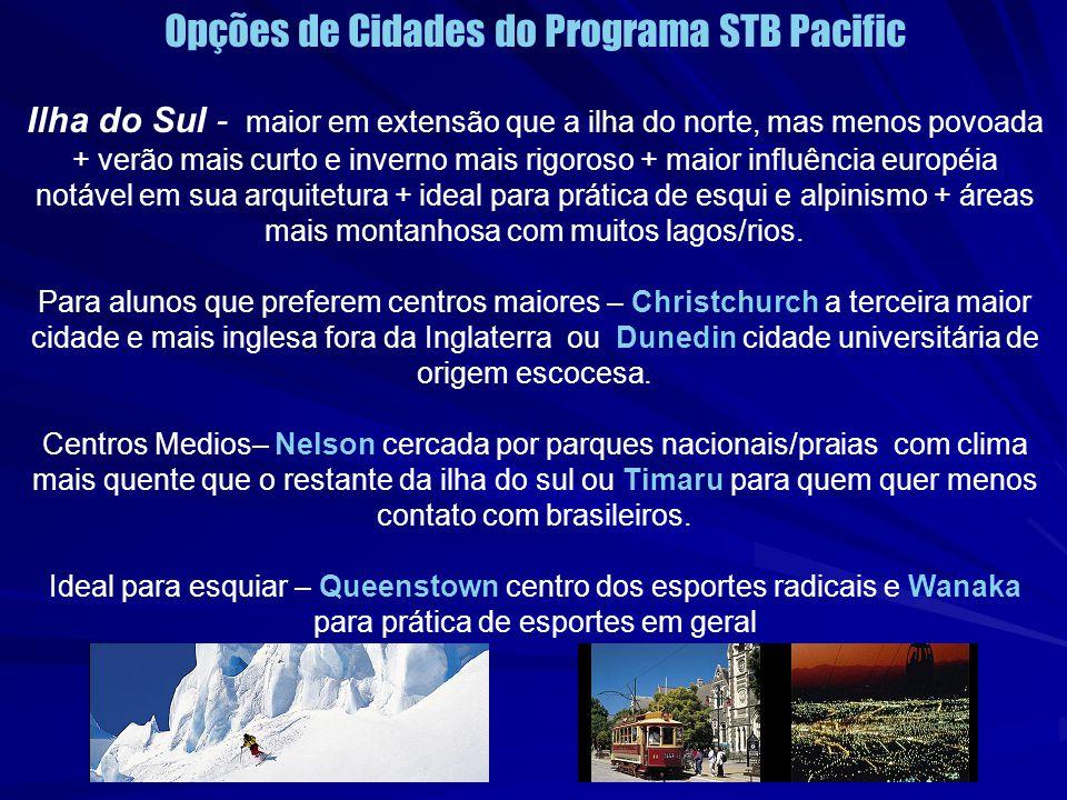 Opções de Cidades do Programa STB Pacific Ilha do Sul - maior em extensão que a ilha do norte, mas menos povoada + verão mais curto e inverno mais rig