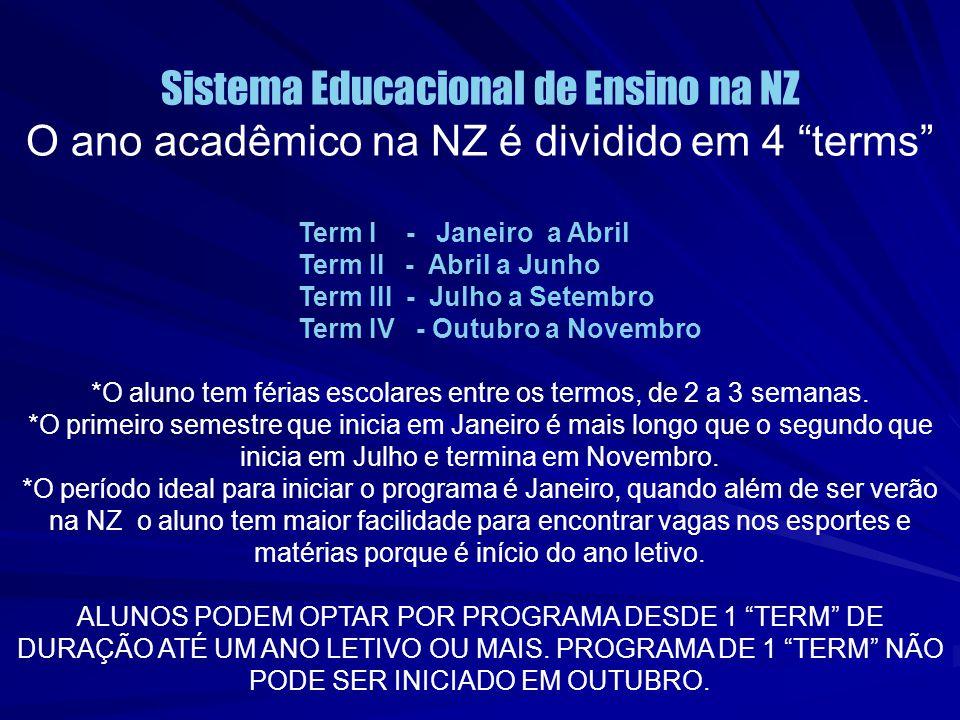 """Sistema Educacional de Ensino na NZ O ano acadêmico na NZ é dividido em 4 """"terms"""" Term I - Janeiro a Abril Term II - Abril a Junho Term III - Julho a"""