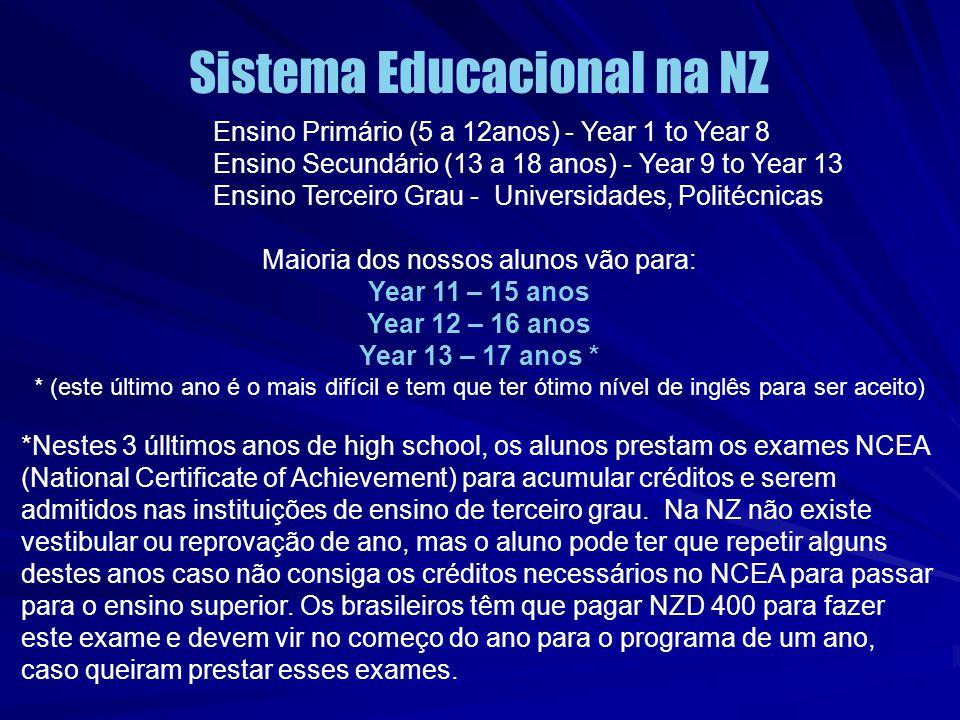 Sistema Educacional na NZ Ensino Primário (5 a 12anos) - Year 1 to Year 8 Ensino Secundário (13 a 18 anos) - Year 9 to Year 13 Ensino Terceiro Grau -