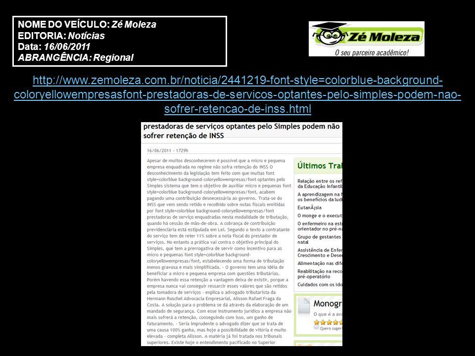 http://www.clippingexpress.com.br/ce2//?a=noticia&nv=MW6VqsgDviAO3Wawzfi0Fg&pri ntPreview=1 NOME DO VEÍCULO: Clipping Express EDITORIA: Economia Data: 15/06/2011 ABRANGÊNCIA: Regional