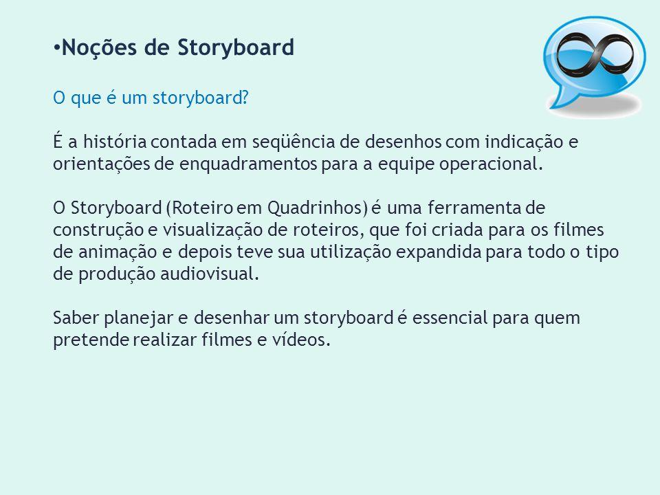 Noções de Storyboard O que é um storyboard? É a história contada em seqüência de desenhos com indicação e orientações de enquadramentos para a equipe