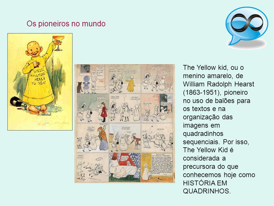 Os pioneiros no mundo The Yellow kid, ou o menino amarelo, de William Radolph Hearst (1863-1951), pioneiro no uso de balões para os textos e na organi