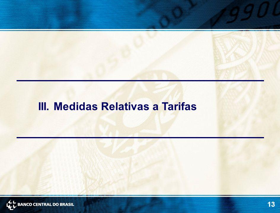 13 III. Medidas Relativas a Tarifas