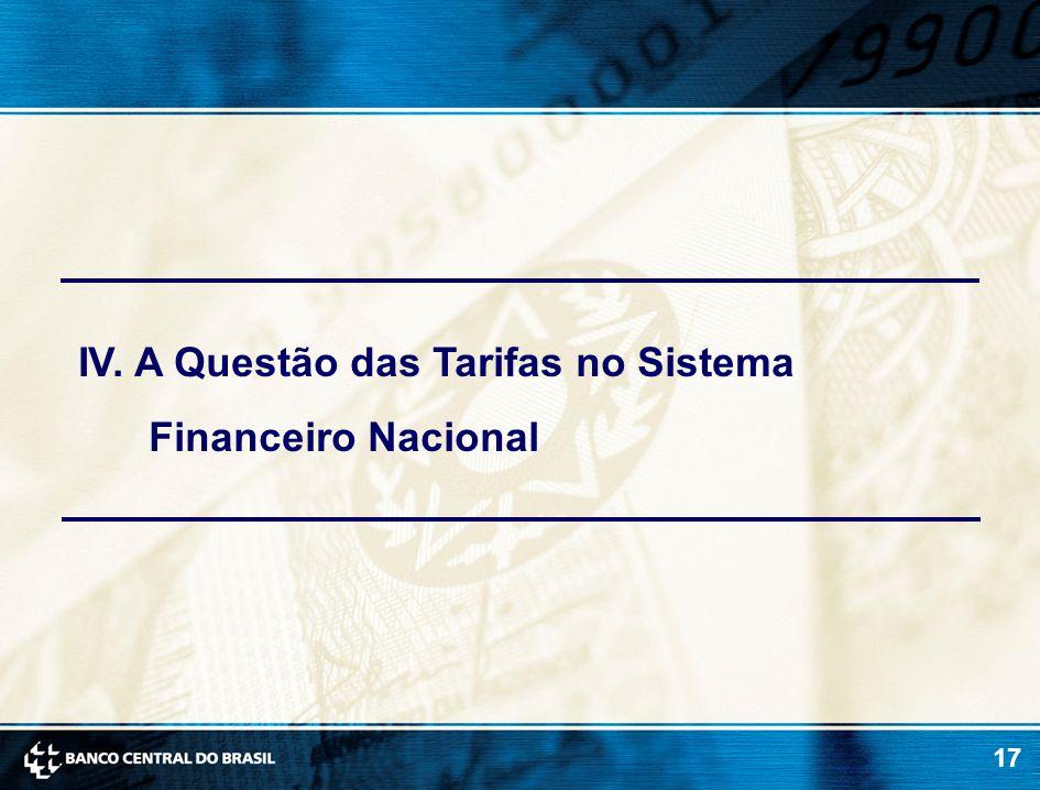 17 IV. A Questão das Tarifas no Sistema Financeiro Nacional