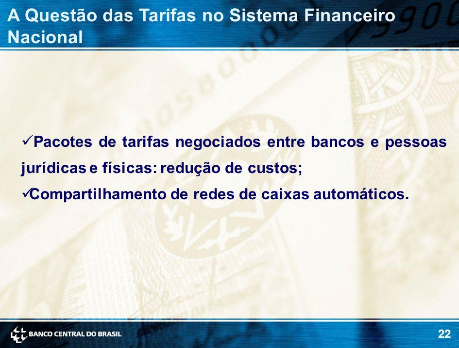 22 Pacotes de tarifas negociados entre bancos e pessoas jurídicas e físicas: redução de custos; Compartilhamento de redes de caixas automáticos.