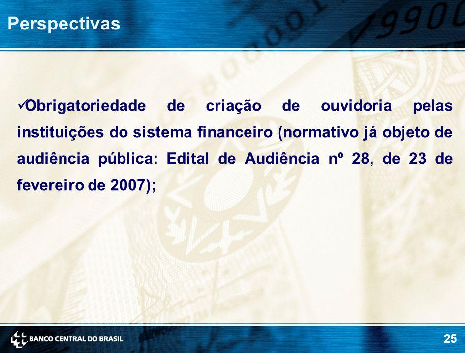 25 Perspectivas Obrigatoriedade de criação de ouvidoria pelas instituições do sistema financeiro (normativo já objeto de audiência pública: Edital de Audiência nº 28, de 23 de fevereiro de 2007);