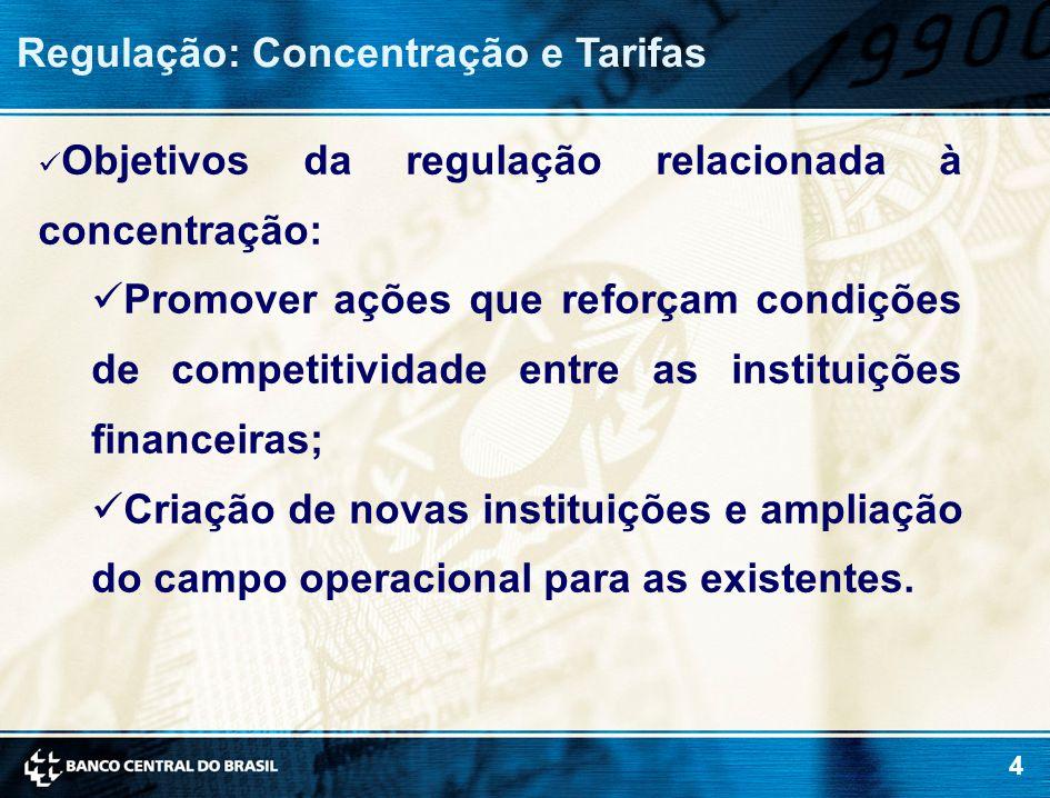 4 Regulação: Concentração e Tarifas Objetivos da regulação relacionada à concentração: Promover ações que reforçam condições de competitividade entre as instituições financeiras; Criação de novas instituições e ampliação do campo operacional para as existentes.