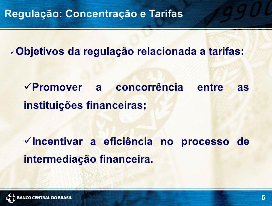 5 Regulação: Concentração e Tarifas Objetivos da regulação relacionada a tarifas: Promover a concorrência entre as instituições financeiras; Incentivar a eficiência no processo de intermediação financeira.
