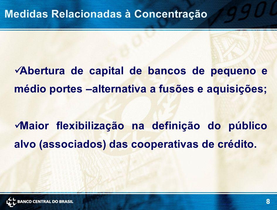 8 Medidas Relacionadas à Concentração Abertura de capital de bancos de pequeno e médio portes –alternativa a fusões e aquisições; Maior flexibilização na definição do público alvo (associados) das cooperativas de crédito.