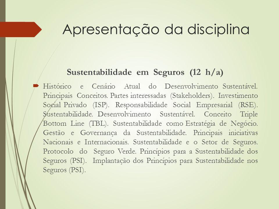 Apresentação da disciplina Sustentabilidade em Seguros (12 h/a)  Histórico e Cenário Atual do Desenvolvimento Sustentável.