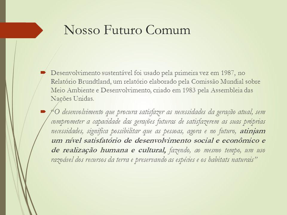 Nosso Futuro Comum  Desenvolvimento sustentável foi usado pela primeira vez em 1987, no Relatório Brundtland, um relatório elaborado pela Comissão Mundial sobre Meio Ambiente e Desenvolvimento, criado em 1983 pela Assembleia das Nações Unidas.