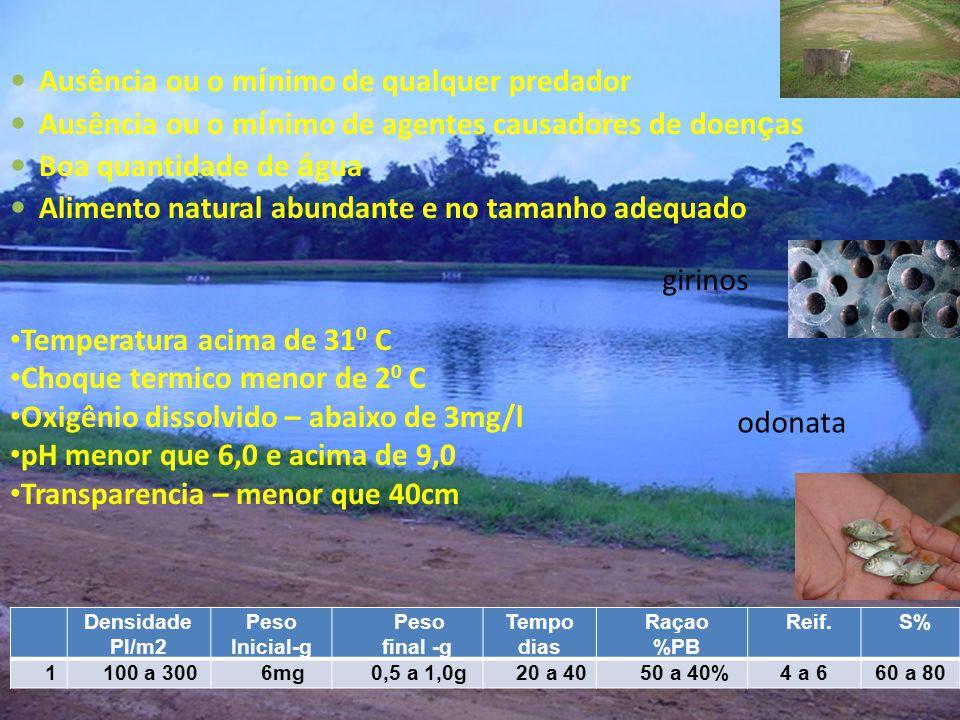 Temperatura acima de 31 0 C Choque termico menor de 2 0 C Oxigênio dissolvido – abaixo de 3mg/l pH menor que 6,0 e acima de 9,0 Transparencia – menor