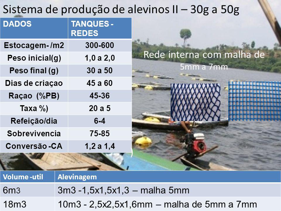 Sistema de produção de alevinos II – 30g a 50g DADOSTANQUES - REDES Estocagem- /m2300-600 Peso inicial(g)1,0 a 2,0 Peso final (g)30 a 50 Dias de criaç