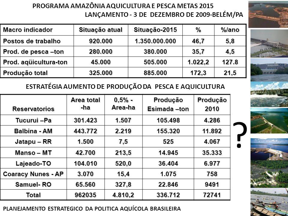 Macro indicador Situação atual Situação-2015%/ano Postos de trabalho 920.0001.350.000.00046,75,8 Prod. de pesca –ton 280.000380.00035,74,5 Prod. aqüic
