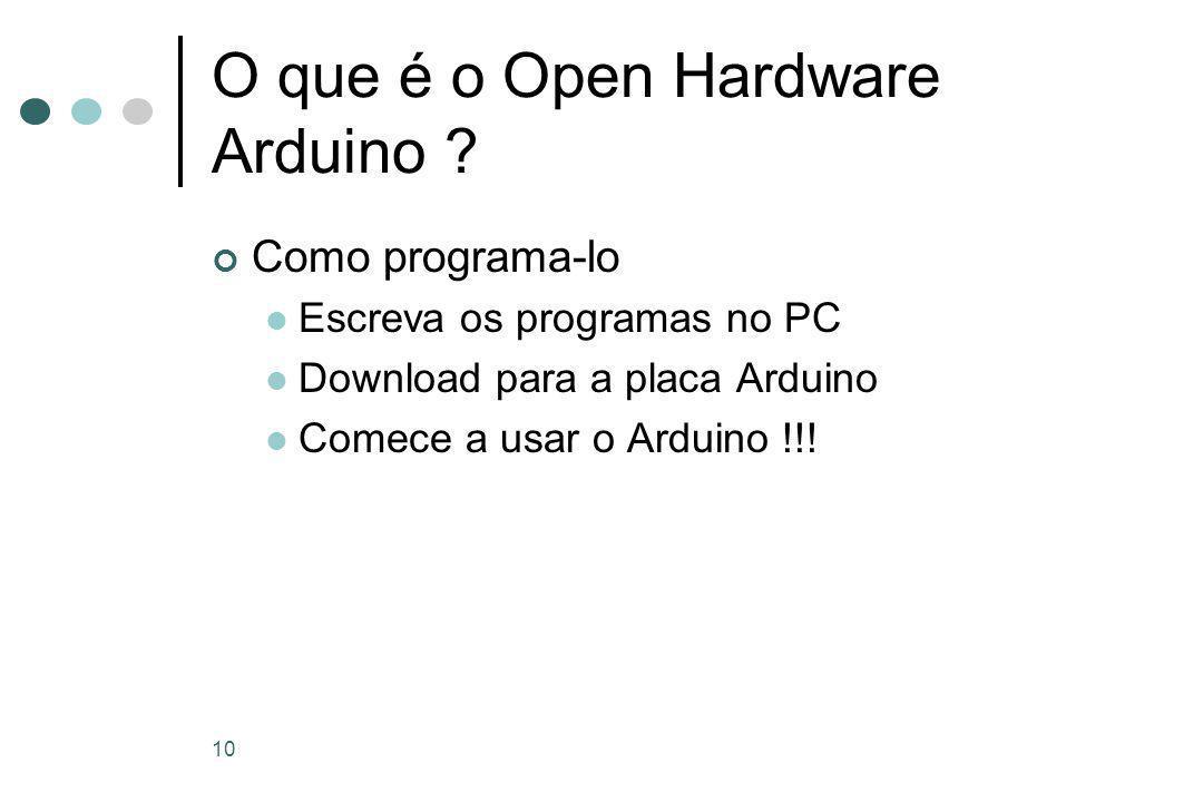 10 O que é o Open Hardware Arduino .