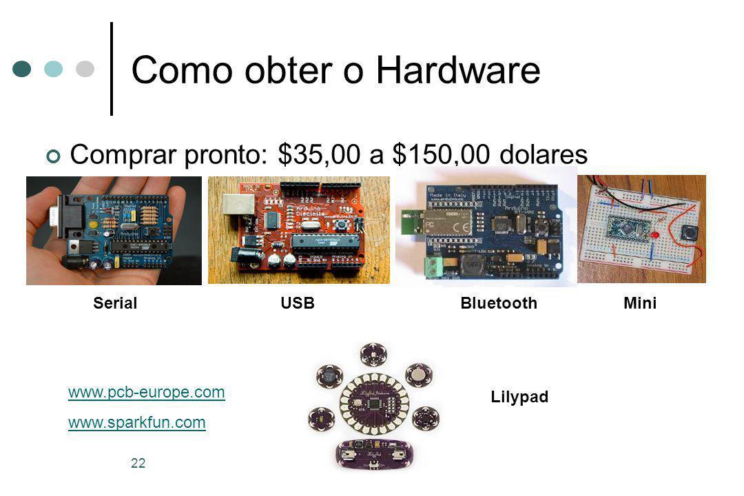 22 Como obter o Hardware Comprar pronto: $35,00 a $150,00 dolares SerialUSBBluetooth www.pcb-europe.com www.sparkfun.com Mini Lilypad