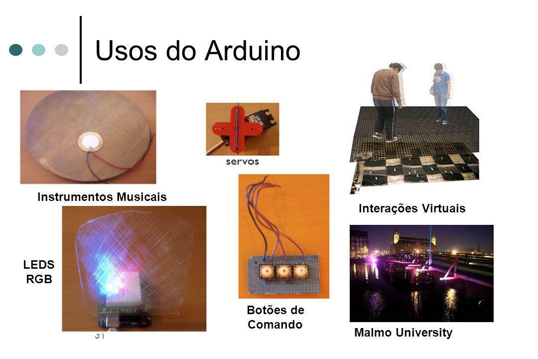 31 Usos do Arduino Instrumentos Musicais LEDS RGB Interações Virtuais Malmo University Botões de Comando