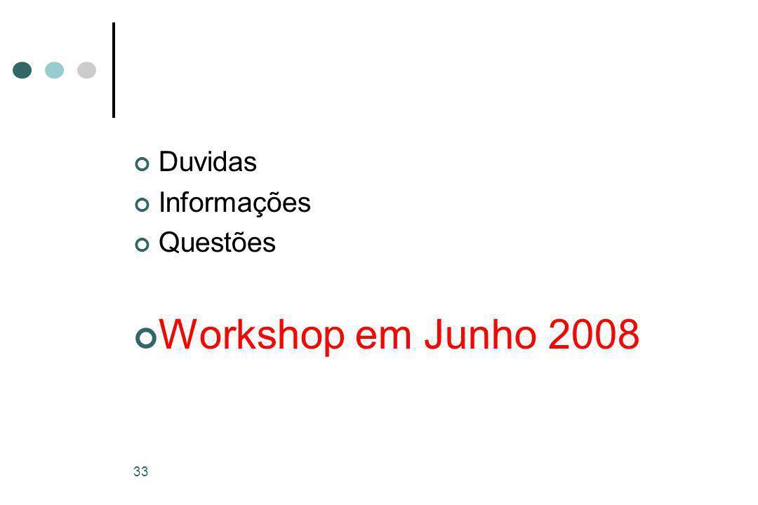 33 Duvidas Informações Questões Workshop em Junho 2008