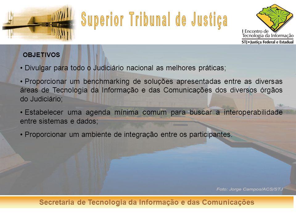 Secretaria de Tecnologia da Informação e das Comunicações OBJETIVOS Divulgar para todo o Judiciário nacional as melhores práticas; Proporcionar um ben