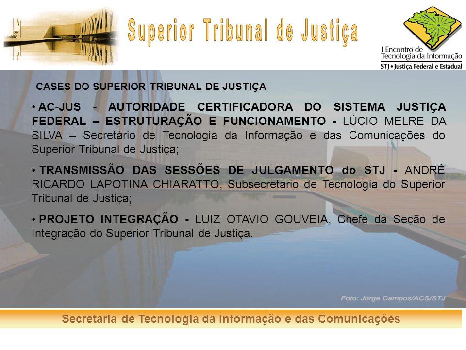 Secretaria de Tecnologia da Informação e das Comunicações CASES DO SUPERIOR TRIBUNAL DE JUSTIÇA AC-JUS - AUTORIDADE CERTIFICADORA DO SISTEMA JUSTIÇA F