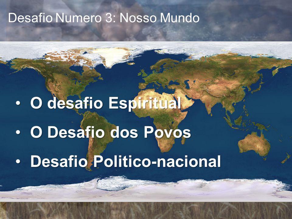 Desafio Numero 3: Nosso Mundo O desafio Espiritual O desafio Espiritual O Desafio dos Povos O Desafio dos Povos Desafio Politico-nacional Desafio Politico-nacional