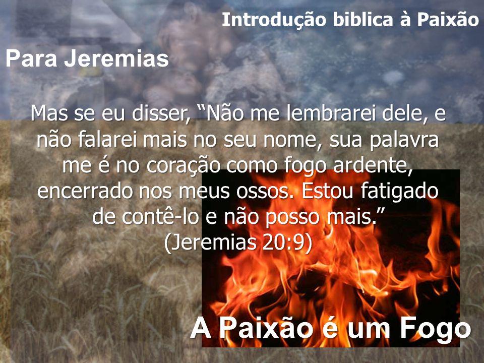 Introdução biblica à Paixão Mas se eu disser, Não me lembrarei dele, e não falarei mais no seu nome, sua palavra me é no coração como fogo ardente, encerrado nos meus ossos.