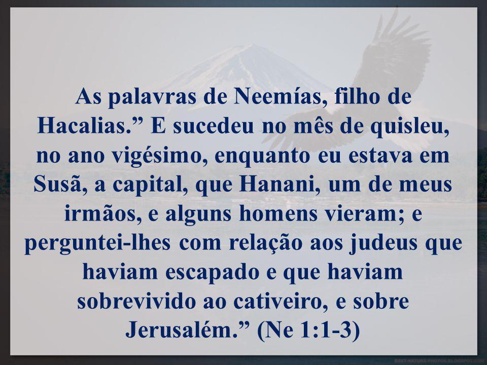 As palavras de Neemías, filho de Hacalias. E sucedeu no mês de quisleu, no ano vigésimo, enquanto eu estava em Susã, a capital, que Hanani, um de meus irmãos, e alguns homens vieram; e perguntei-lhes com relação aos judeus que haviam escapado e que haviam sobrevivido ao cativeiro, e sobre Jerusalém. (Ne 1:1-3)